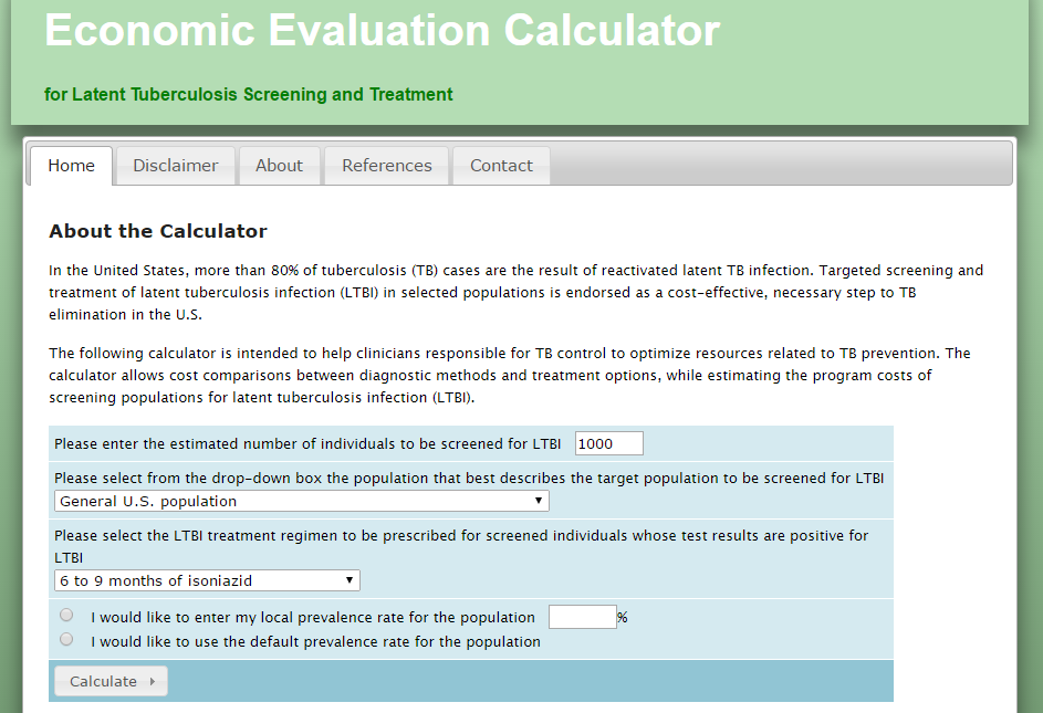 Screen Capture of Economic Evaluation Calculator